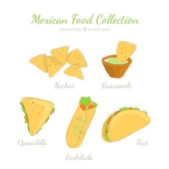 Ręcznie rysowane kolekcji meksykańskiej żywności