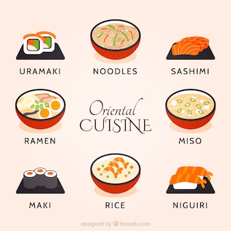 Ręcznie rysowane kolekcji orientalnych kuchni