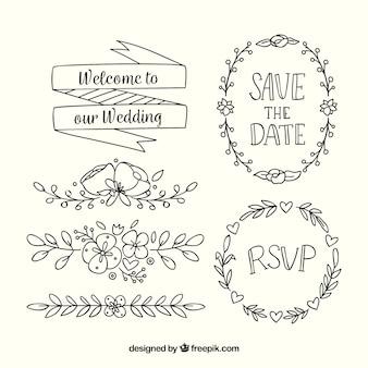 Ręcznie rysowane kolekcji ornament ślubny