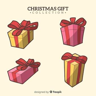 Ręcznie rysowane kolekcji pudełko na prezent boże narodzenie