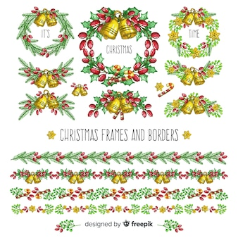 Ręcznie rysowane kolekcji ramek świątecznych