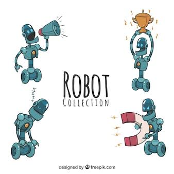 Ręcznie rysowane kolekcji robotów z różnych pozach
