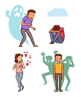 Ręcznie rysowane kolekcji różnych zaburzeń psychicznych