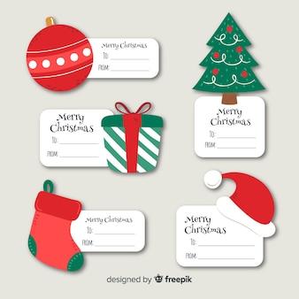 Ręcznie rysowane kolekcji świątecznych etykiet