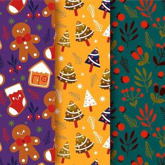 Ręcznie rysowane kolekcji świątecznych wzorów