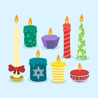Ręcznie rysowane kolekcji świec bożego narodzenia