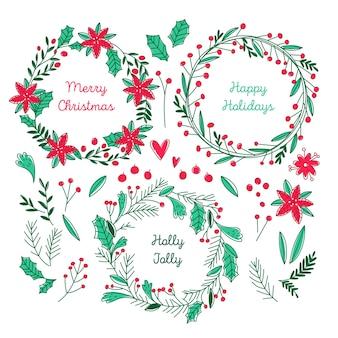 Ręcznie rysowane kolekcji wieniec świąteczny