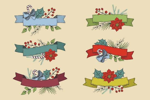Ręcznie rysowane kolekcji wstążki świąteczne