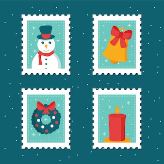 Ręcznie rysowane kolekcji znaczków świątecznych