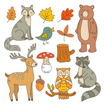 Ręcznie rysowane kolekcji zwierząt leśnych jesień