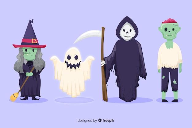 Ręcznie rysowane kolekcjonowania postaci halloween