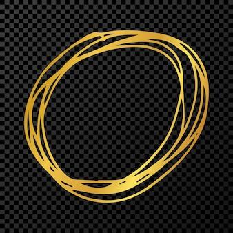 Ręcznie rysowane koło bazgrołów. złoto doodle okrągły okrągły element projektu na ciemnym przezroczystym tle. ilustracja wektorowa