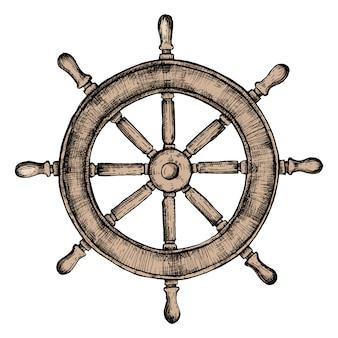 Ręcznie rysowane koło statku