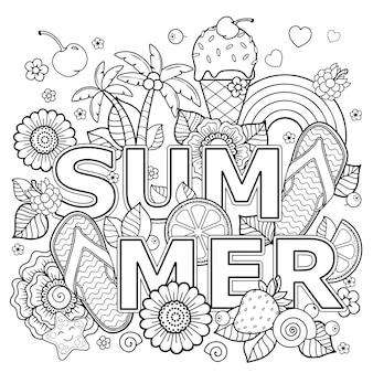 Ręcznie rysowane kolorowanka dla dorosłych. letnie wakacje, zabawa i wypoczynek