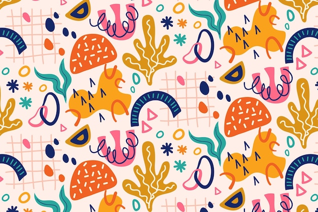 Ręcznie rysowane kolorowe abstrakcyjne kształty wzór