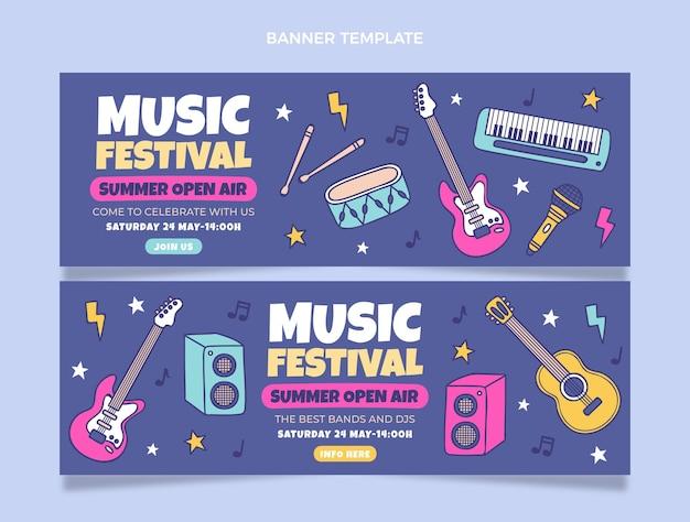Ręcznie rysowane kolorowe banery festiwalu muzycznego poziome