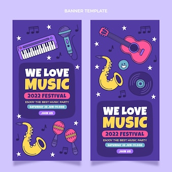 Ręcznie rysowane kolorowe banery festiwalu muzycznego w pionie