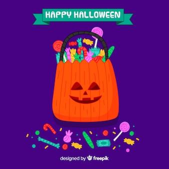 Ręcznie rysowane kolorowe cukierki halloween worek tło