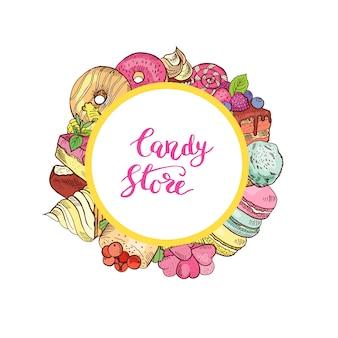 Ręcznie rysowane kolorowe cukierki wokół koła