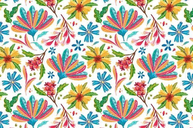 Ręcznie rysowane kolorowe egzotyczne tło wzór kwiatowy