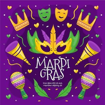 Ręcznie rysowane kolorowe elementy mardi gras