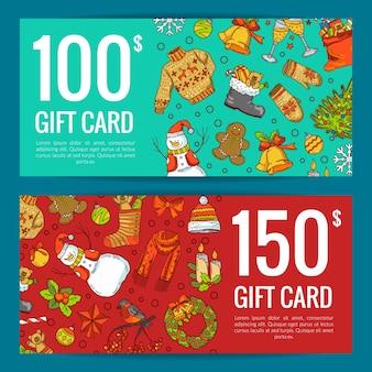 Ręcznie rysowane kolorowe elementy świąteczne z mikołajem, choinką, prezentami i dzwonkami karta podarunkowa lub ilustracja szablonu kuponu