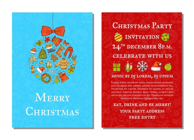 Ręcznie rysowane kolorowe elementy świąteczne z szablonem zaproszenia na przyjęcie świętego mikołaja, drzewa, prezentów i dzwonków z zabawką choinkową i miejscem na tekst ilustracji