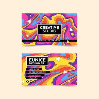 Ręcznie rysowane kolorowe groovy psychodeliczna wizytówka