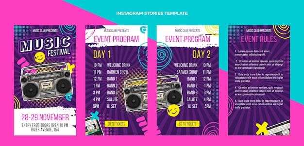 Ręcznie rysowane kolorowe historie z festiwalu muzycznego na instagramie