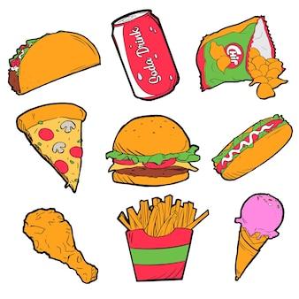 Ręcznie rysowane kolorowe ikony fast foodów
