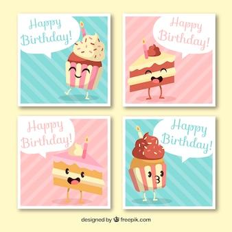 Ręcznie rysowane kolorowe kartki urodzinowe z kawałkami ciasta w stylu animacji