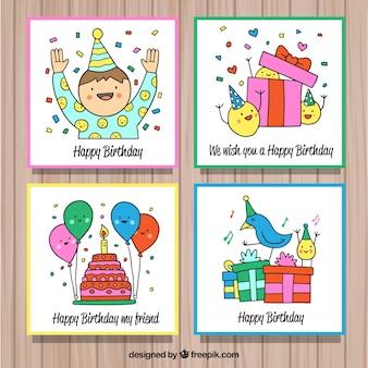 Ręcznie rysowane kolorowe kartki urodzinowe