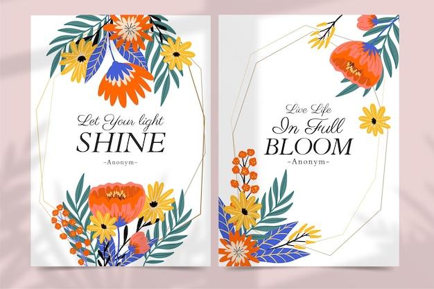 Ręcznie rysowane kolorowe karty kwiatowe