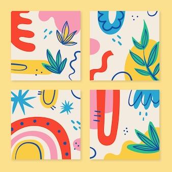 Ręcznie rysowane kolorowe kształty okładek