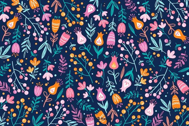 Ręcznie rysowane kolorowe kwiaty tło