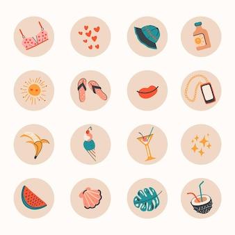 Ręcznie rysowane kolorowe letnie podświetlenia na instagramie