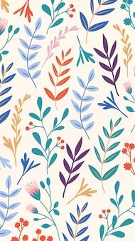 Ręcznie rysowane kolorowe liście mobilna tapeta