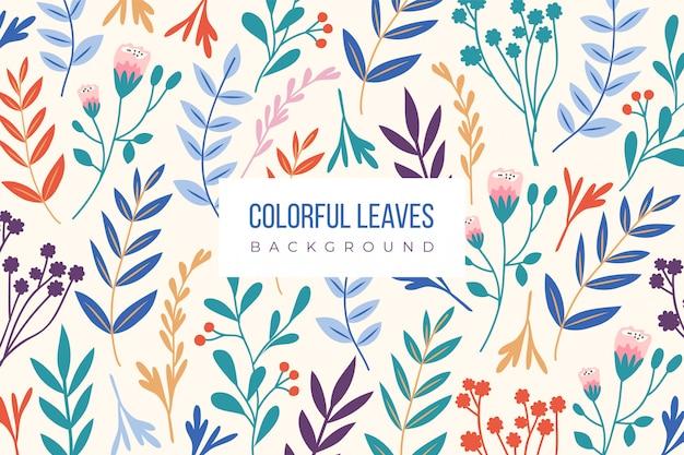 Ręcznie rysowane kolorowe liście tło