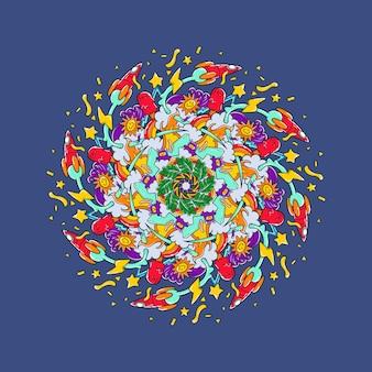Ręcznie rysowane kolorowe mandali doodle