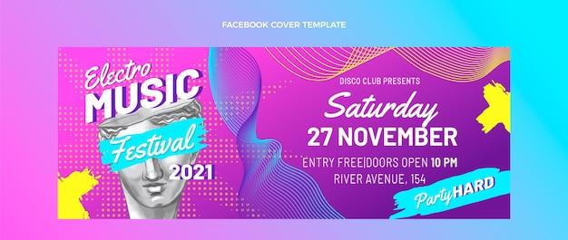 Ręcznie rysowane kolorowe okładki festiwalu muzycznego na facebooku
