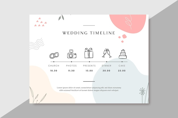 Ręcznie rysowane kolorowe oś czasu ślubu