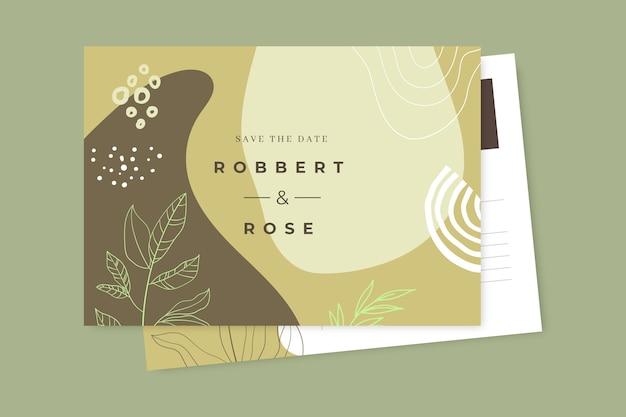 Ręcznie rysowane kolorowe pocztówki ślubne