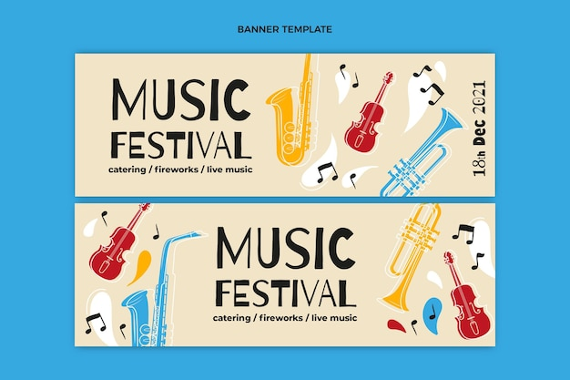 Ręcznie rysowane kolorowe poziome banery festiwalu muzycznego