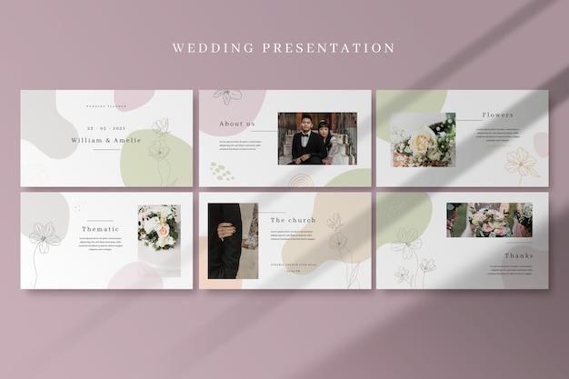 Ręcznie rysowane kolorowe prezentacje ślubne