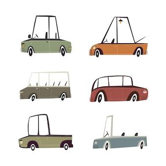 Ręcznie rysowane kolorowe słodkie samochody wektor dla dzieci