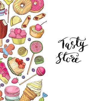 Ręcznie rysowane kolorowe słodycze sklep lub baner cukierniczy