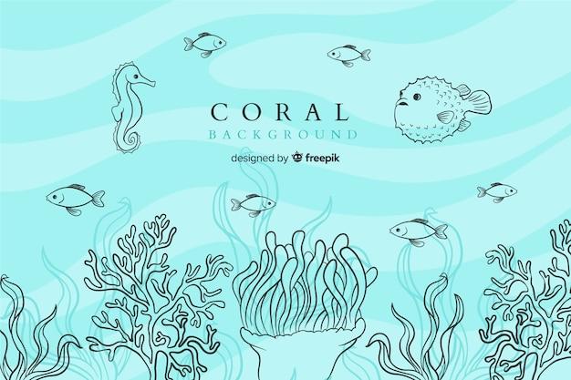 Ręcznie rysowane kolorowe tło koral