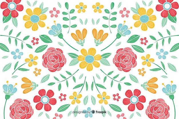 Ręcznie rysowane kolorowe tło kwiatowy