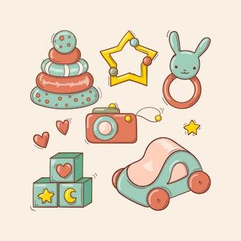 Ręcznie rysowane kolorowe zabawki dla dzieci w stylu bazgroły.