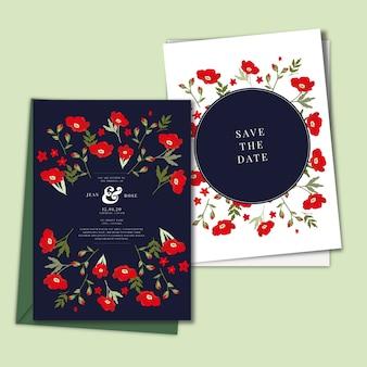 Ręcznie rysowane kolorowe zaproszenia ślubne